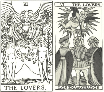The Lovers from Waite-Smith and Tarot de Marseilles